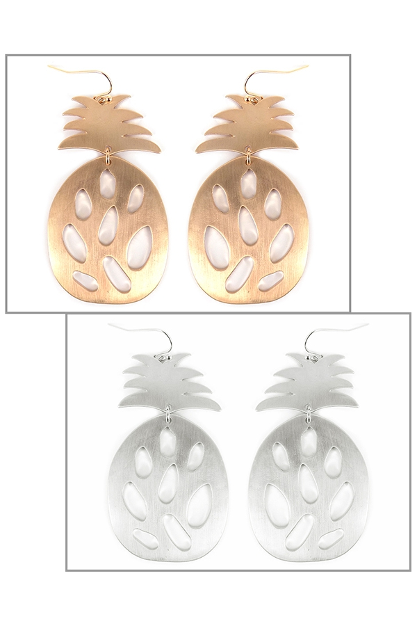 SATIN PINEAPPLE METAL EARRINGS - orangeshine.com