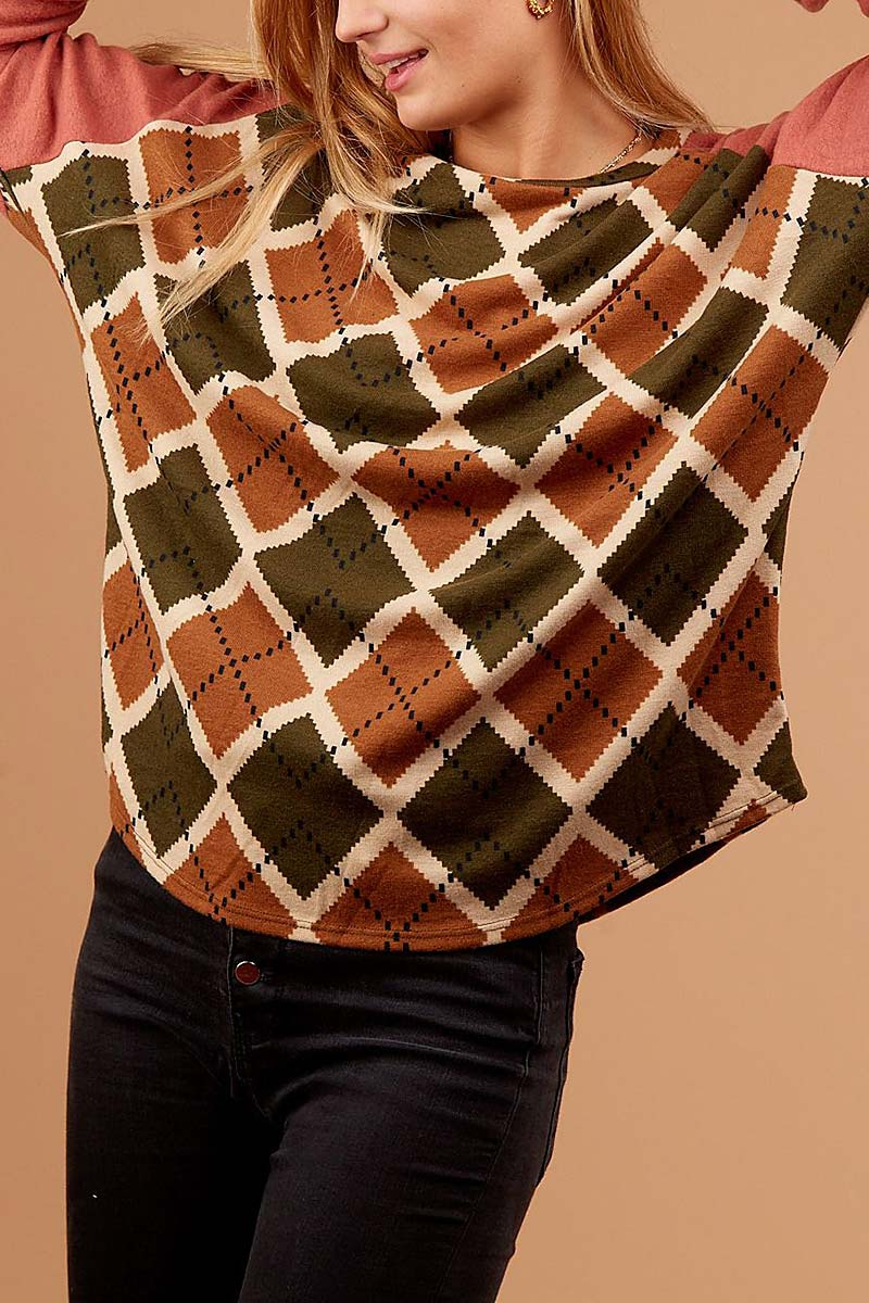 ARGYLE PRINT COLOR BLOCK TOP  - orangeshine.com