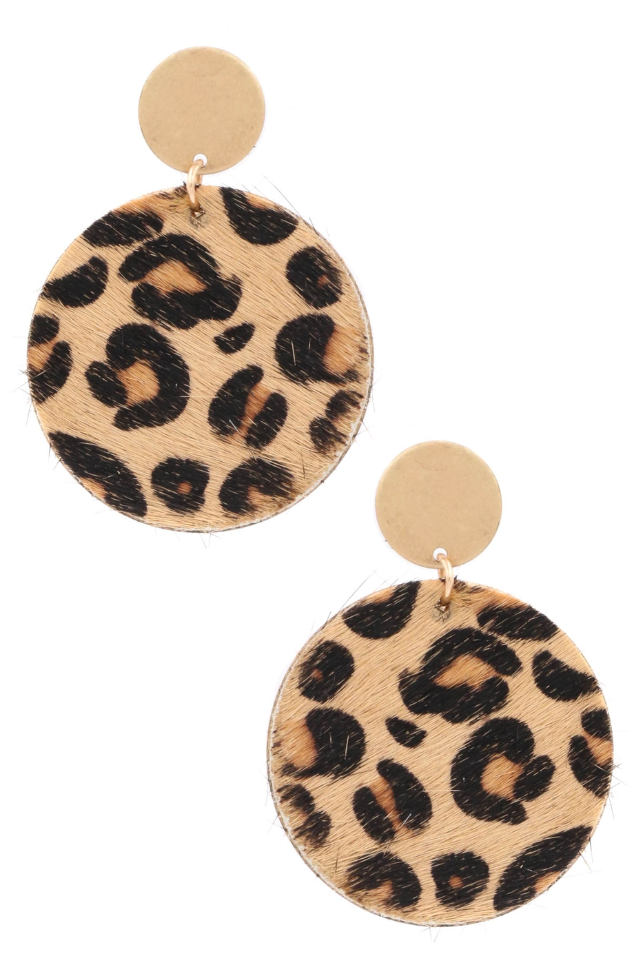 Metal Faux Fur Drop Earrings - orangeshine.com