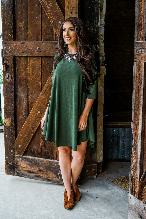 SOLID MID SLEEVE FLUTTER DRESS - orangeshine.com