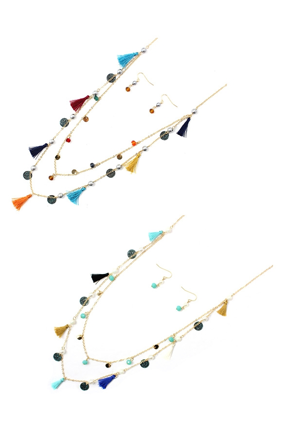 LAYERED TASSEL PATINA COIN NECKLACES - orangeshine.com