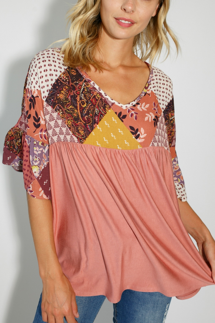 GEO FLORAL PATCHWORK BABY DOLL TOP - orangeshine.com