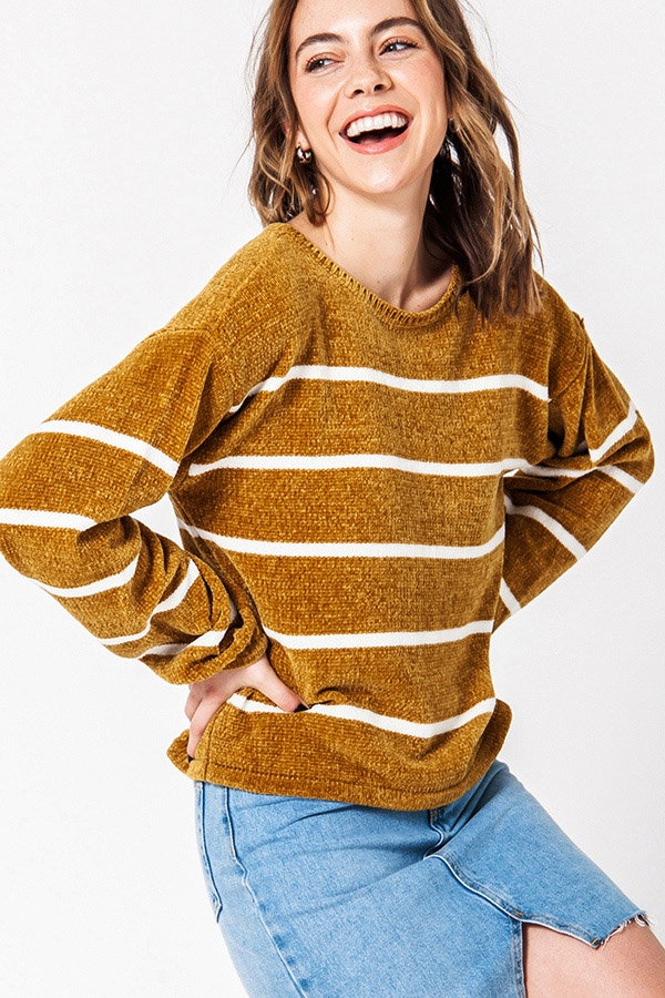 STRIPED BALLOON SLEEVE SWEATER - orangeshine.com