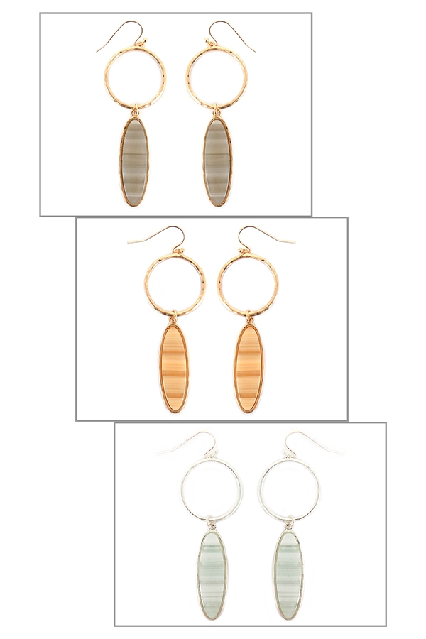 RING OVAL STRIPE CELLULOID EARRINGS - orangeshine.com