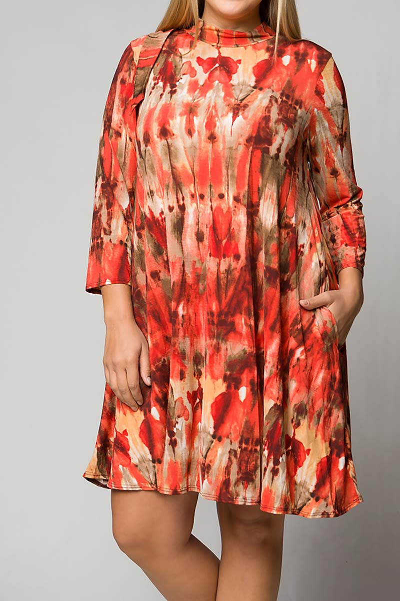 TIE DYE MOCK NECK POCKET SWING DRESS - orangeshine.com