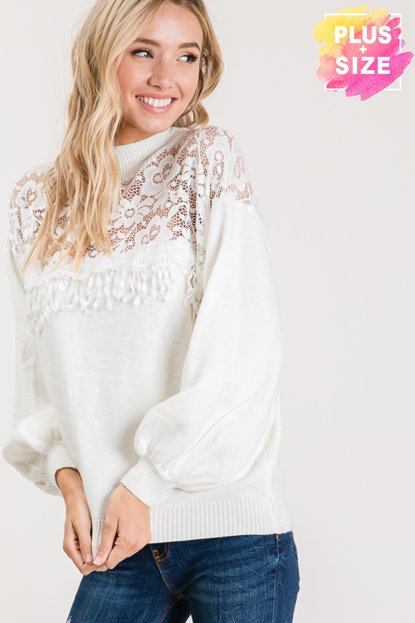 SOLID SWEATER WITH FRONT LACE DETAIL - orangeshine.com