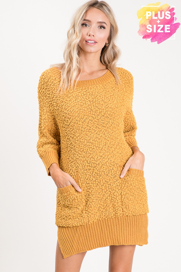 SWEATER DRESS WITH SIDE POCKETS PLUS - orangeshine.com