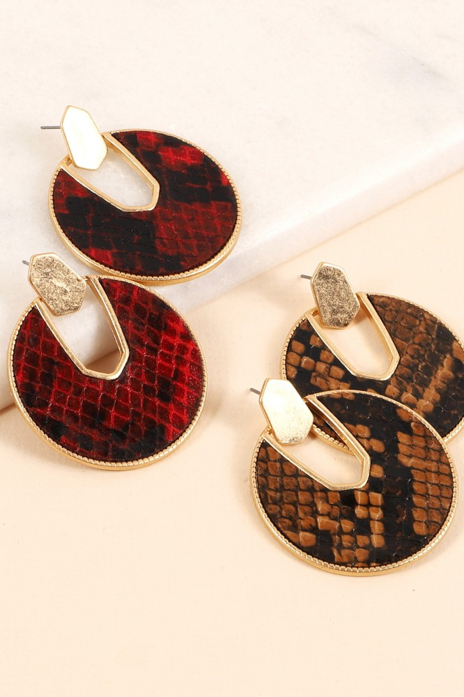 Snakeskin Leather Round Drop Earring - orangeshine.com