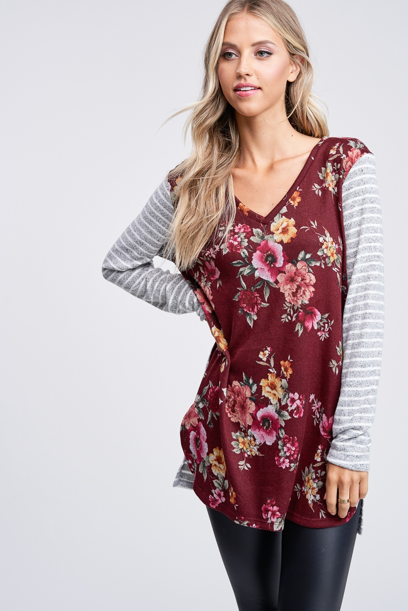 Floral and Striped Long Sleeve Top - orangeshine.com