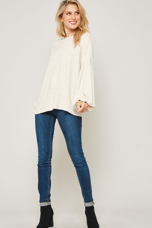 BRUSHED KNIT BISHOP-SLEEVE TOP - orangeshine.com