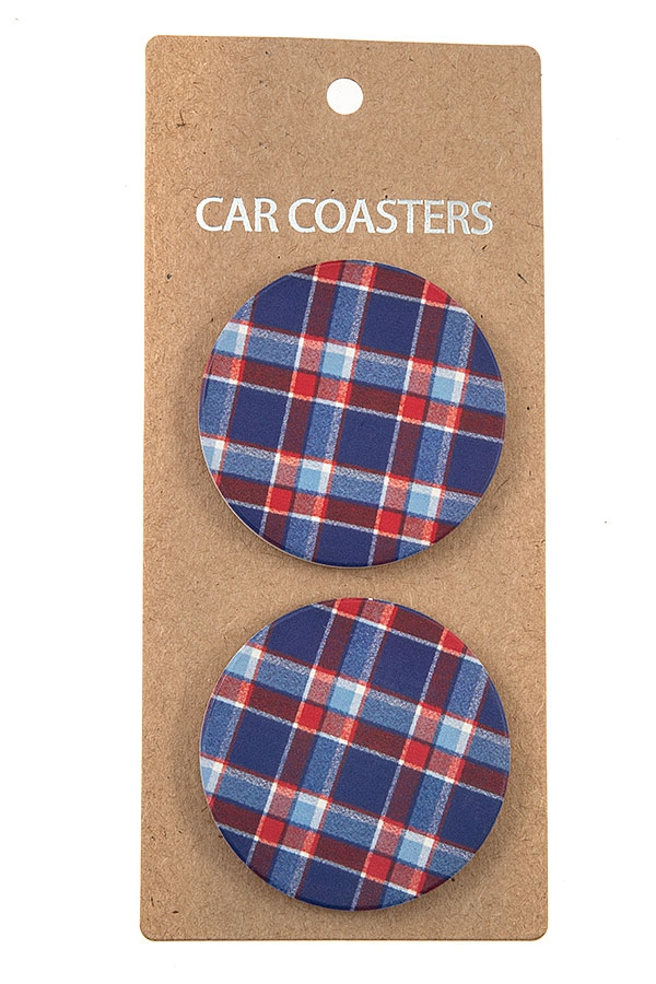 CHECKERED PATTERN CAR COASTERS  - orangeshine.com