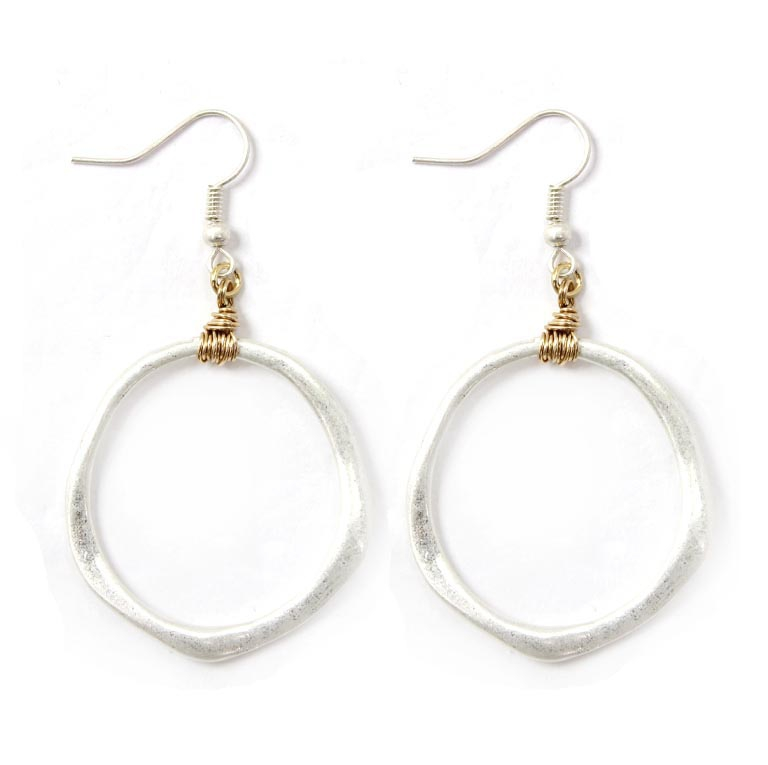 METAL ROUND DROP EARRINGS - orangeshine.com