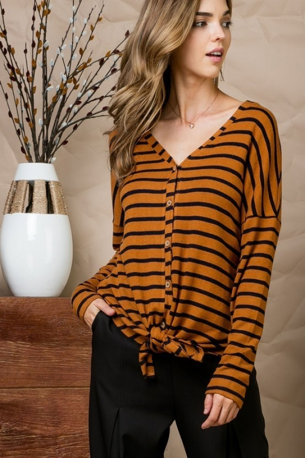 Brush Hacci Stripe Knit Top With Tie - orangeshine.com