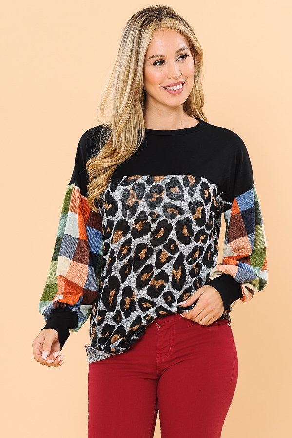 COLOR BLOCK TOP WITH PUFF SLEEVES - orangeshine.com