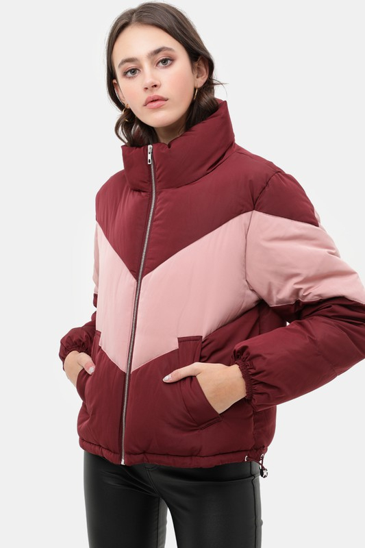 Oversized Blocked Puffer Jacket - orangeshine.com