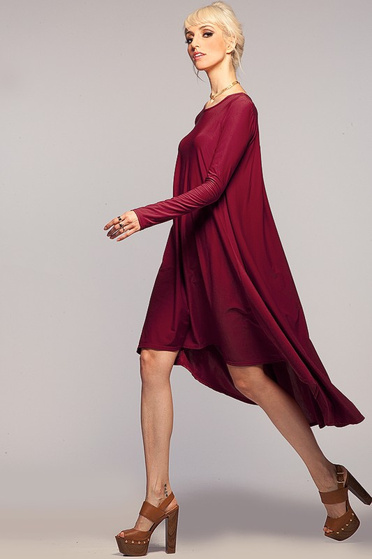 Classic High Low Long Sleeve Dress - orangeshine.com