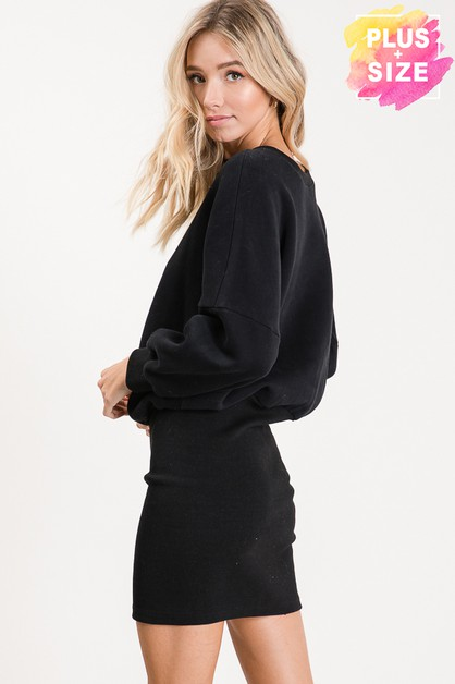 LONG SLEEVE WITH MIDI DRESS PLUS SIZ - orangeshine.com