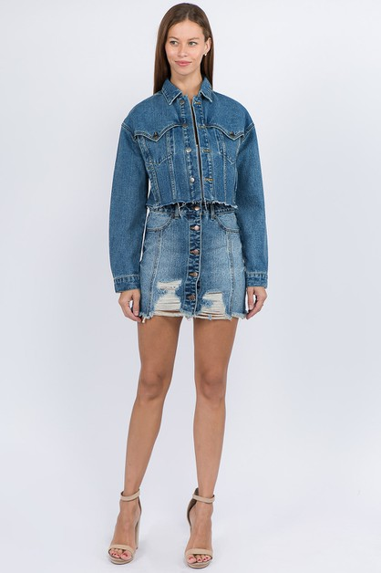 BUTTONED UP FRONT DENIM SKIRTS - orangeshine.com