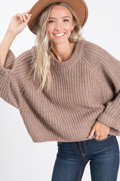 SOLID LONG SLEEVES LOOSE FIT SWEATER - orangeshine.com