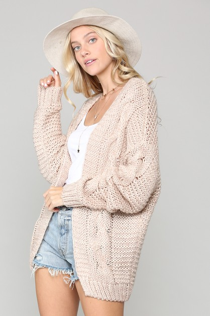 COZY KNIT CARDIGAN WITH OPEN FRONT - orangeshine.com