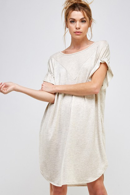 SIDE POCKETED RUFFLE SLEEVE DRESS - orangeshine.com