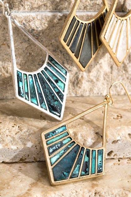 Two Tone Art Deco Earrings - orangeshine.com