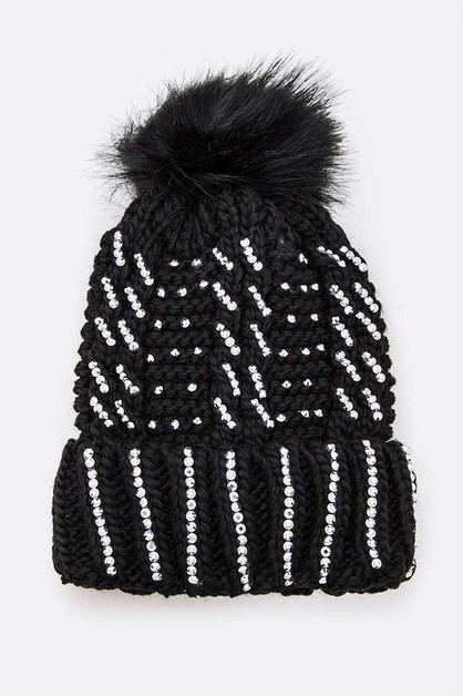 Pave Stone Winter Beanie Set - orangeshine.com
