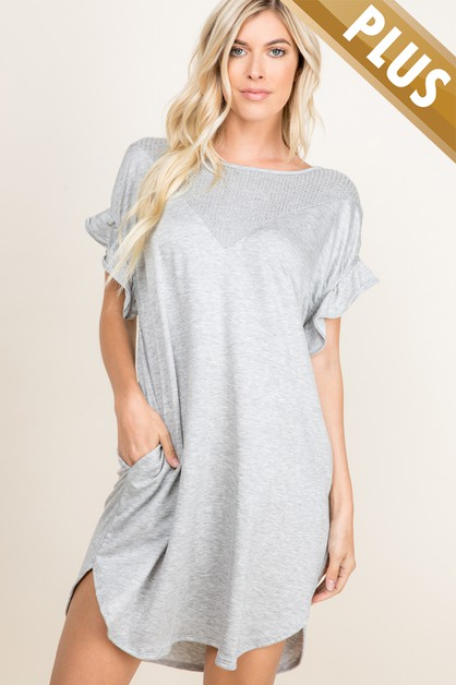 PLUS SIZE SIDE POCKET RUFFLE SLEEVE  - orangeshine.com