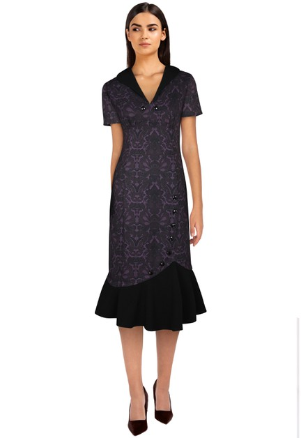 Plus Size Purple/Floral Fishtail Dress - orangeshine.com