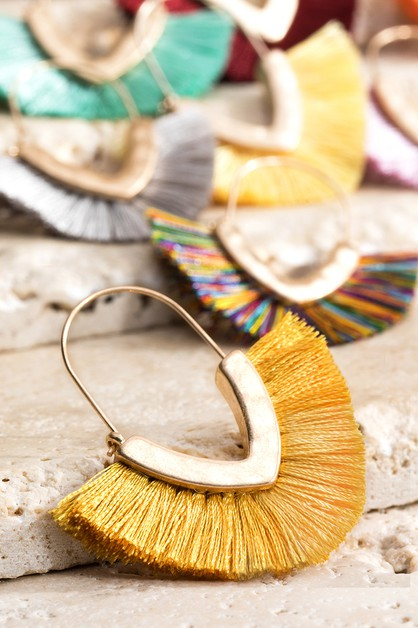 V-Shape Tassel Earrings - orangeshine.com