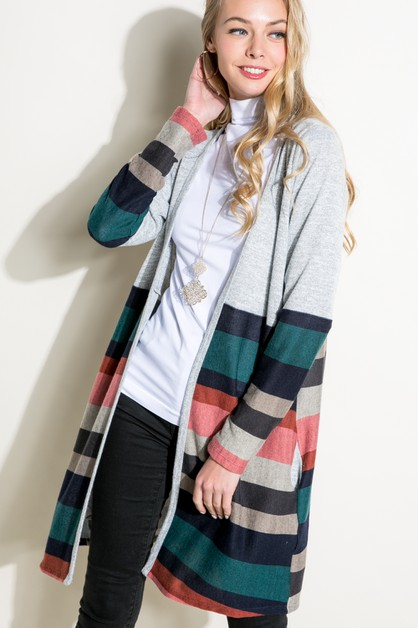 SOLID MULTI STRIPE SIDE PK CARDIGAN - orangeshine.com