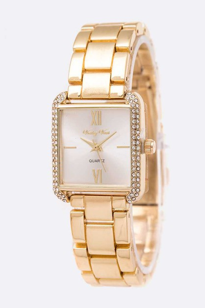 Crystal Bezel Square Bracelet Watch - orangeshine.com