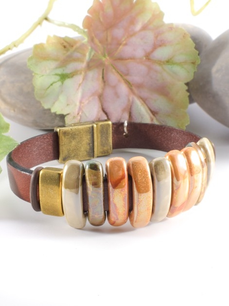 Brown Italian Leather Bracelet - orangeshine.com