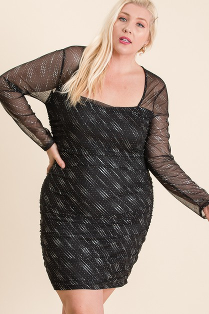 MESH GLITTERED BODYCON DRESS - orangeshine.com