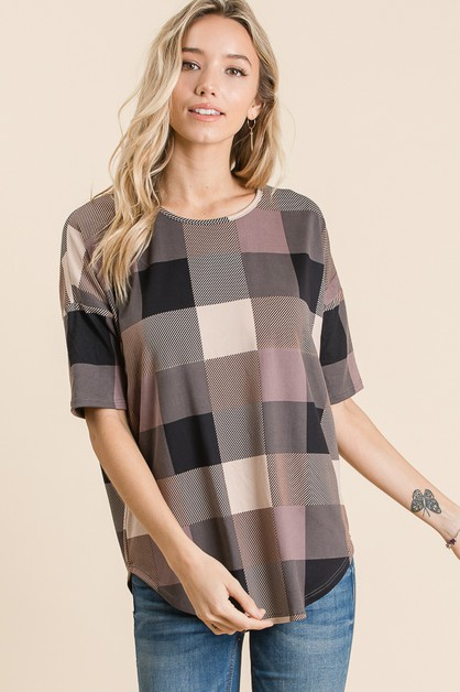 CASUAL PLAID SHORT SLEEVE TOP - orangeshine.com