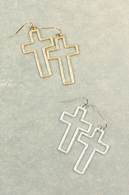 CAST OPEN CROSS HOOK DROP EARRINGS - orangeshine.com