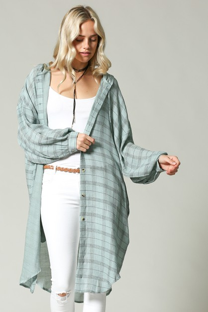 LONG DUSTER PLAID HOODIE - orangeshine.com