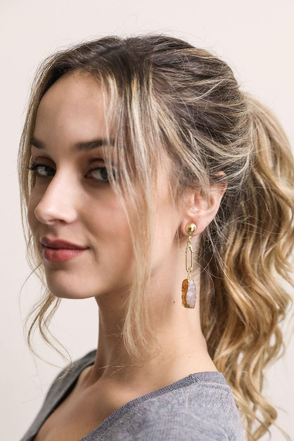 Gemstone Pin Drop Fashion Earrings - orangeshine.com