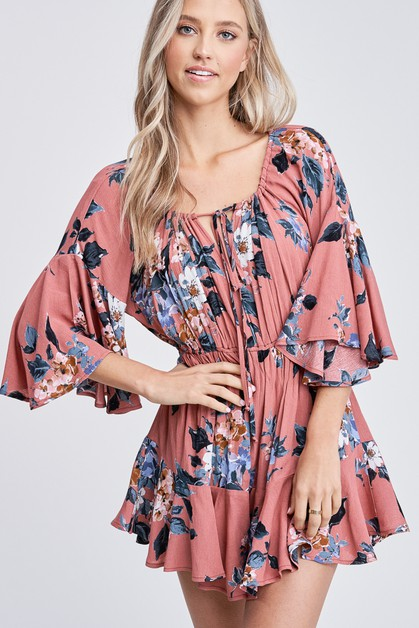 Bell Sleeve Floral Woven Romper - orangeshine.com