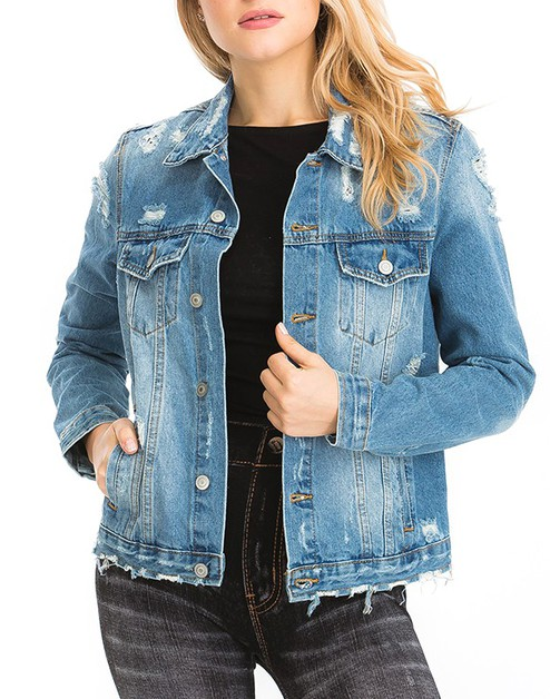 Women casual denim jacket - orangeshine.com