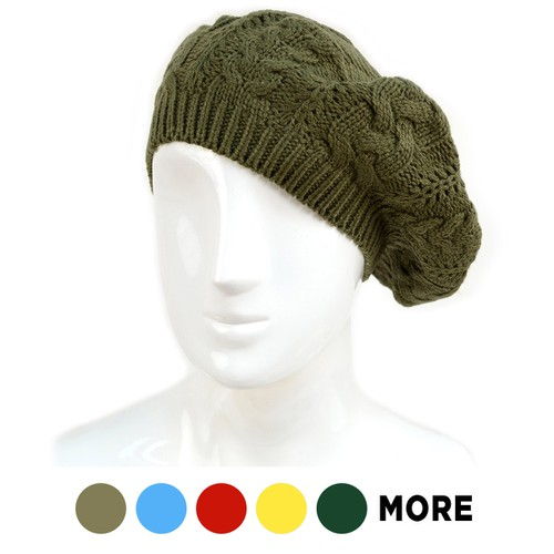 Ladies Knitted Beret Hat - orangeshine.com