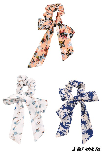 Floral Bow Hair Scrunchies Set - orangeshine.com