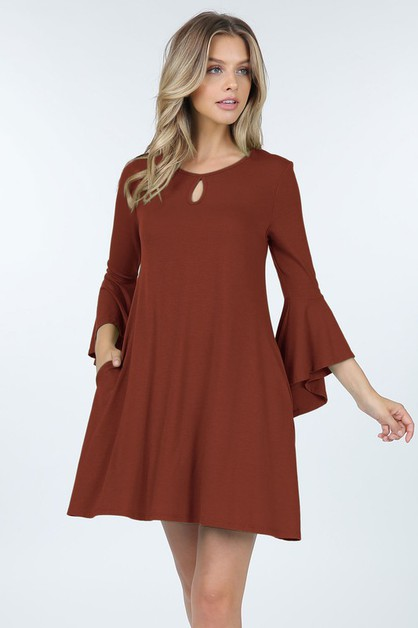 Ruffle Sleeve Dress With Keyhole And - orangeshine.com