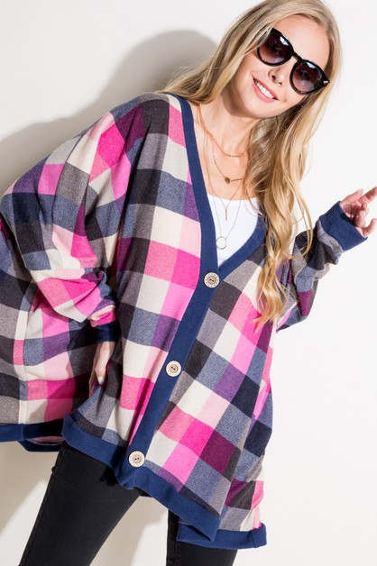 PLAID BUTTON DOWN BOXY CARDIGAN - orangeshine.com