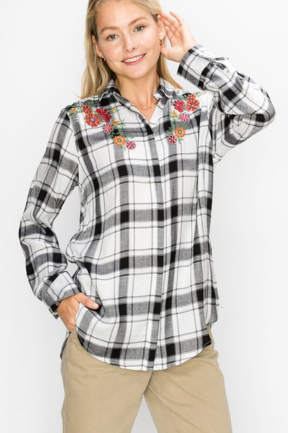 EMBROIDERED PLAID SHIRT  - orangeshine.com