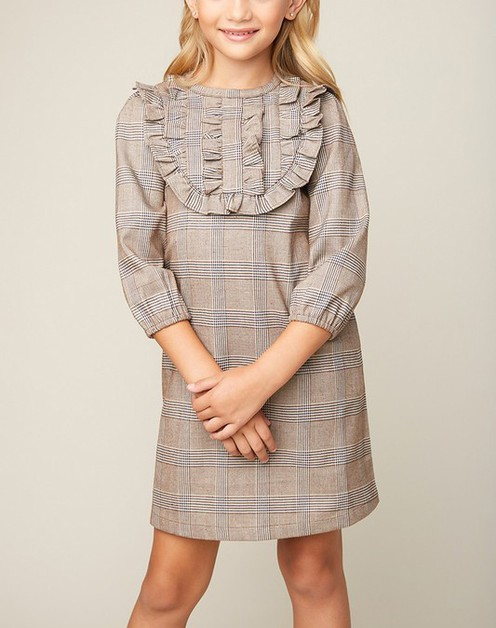 Plaid Tunic Dress With Pockets - orangeshine.com