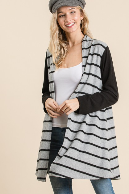 LONG SLEEVE STRIPE CARDIGAN  - orangeshine.com