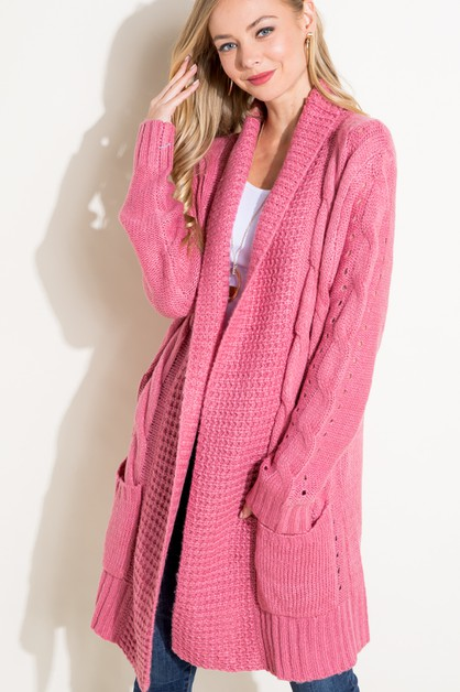 CABLE KNIT PK LONG SWEATER CARDIGAN - orangeshine.com