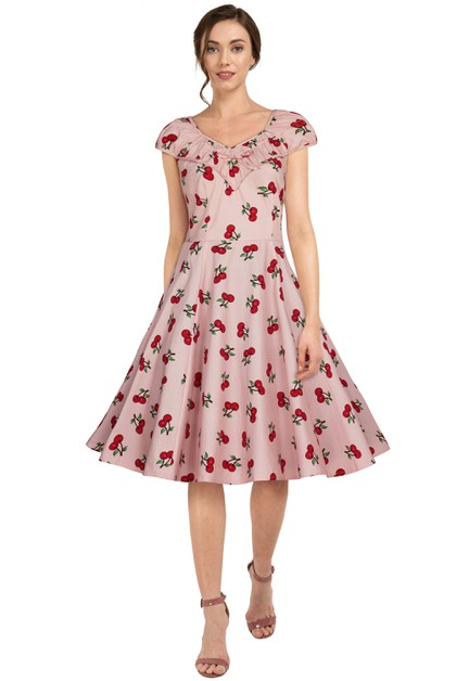 Plus Size Pink/Cherry Ruffle Retro Dress - orangeshine.com