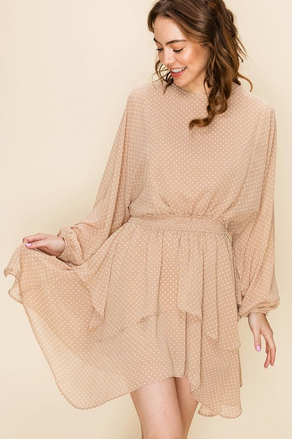 POLKA DOT ASYMMETRICAL DRESS  - orangeshine.com
